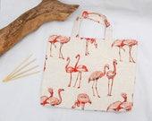 Flamingo knitting bag, large crochet bag, yarn bag, knitting tote,