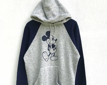 20% OFF RARE Vintage 80s Mickey Mouse Hoodie / Mickey Mouse Sweater / Mickey Mouse Disney / Cartoon Shirt / Mickey Mouse Big Print / Armpit