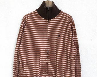 20% OFF Vintage Hang Ten Embroidery Logo Stripe Zipper Sweater / Hang Ten Usa / Surfing Hawaiian Shirt / Pullover / Snowboarding / Armpit 22
