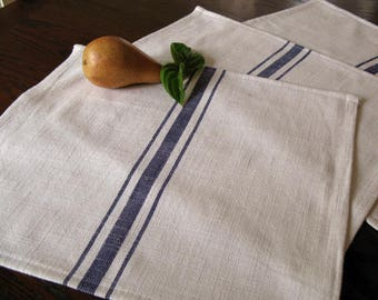 Farmhouse Grain Sack Placemats - Grainsack Placemats - Almost White and Navy Blue Stripe