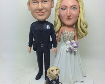 Policeman Personalized Wedding Cake Topper Police Custom Bobble Head Clay Figurine Police Wedding Cake Topper Police Groom Policeman Wedding