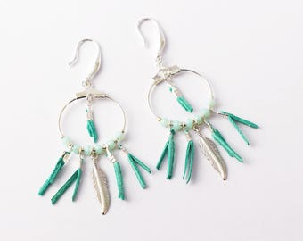 """Earrings """"kwanita"""" leather Mint green water, silver feather glass crystals"""