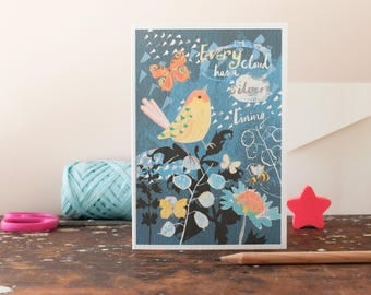Thinking of you card, Every Cloud has a Silver Lining, a friendship card, a blank greeting card to write to a friend, a collage illustration
