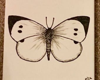 Ceramic Tile Painting, Original. Large White butterfly, silver, black and white bug creepie crawley insect plaque butterfly butterflies