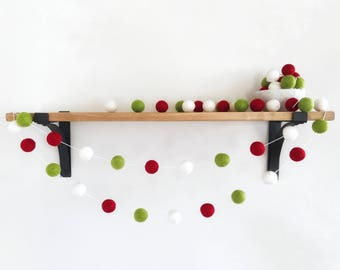 Modern Christmas Felt Ball Garland, Holiday Pom Pom Garland, Christmas Decoration, Party Decor, Xmas Garland