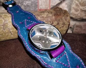 Star watch, Genuine leather bracelet