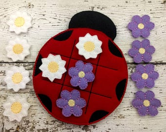 Ladybug Tic Tac Toe Game, Tic Tac Toe, Travel Toy, Educational Toy, Learning Aid, Quiet Game, Party Favor, Gift for Kids, Birthday Gift