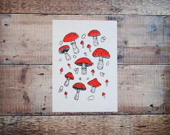 Mushroom A4 Print - Screen Print - Food Illustration - Printed Pattern - Wall Art - Decorative Print - Gift for Foodies
