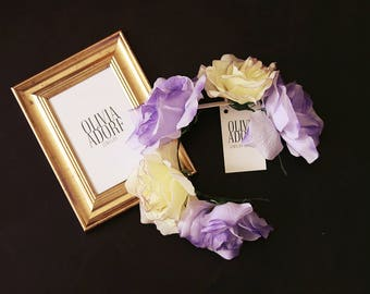 Unique Handmade Flower Crown with Ivory and Violet Roses
