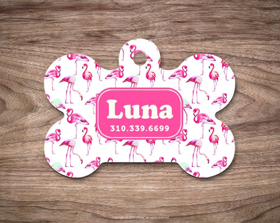 Pet id Tag Dog Tags for Dogs Flamingos Dog Tag Personalized Cat Tags Pet Gift Custom Dog Tag Pet Tags Dog Tags Personalized