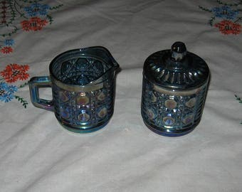 Windsor creamer and sugar with lid made by Indiana Glass