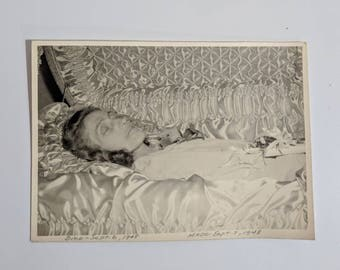 Beautiful post mortem woman laid out in her casket photograph 1948