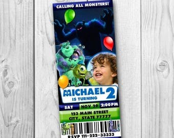 Monsters Inc Ticket Invitation - Monsters University Invitation - Monsters Inc Printable - Monsters University Birthday Party