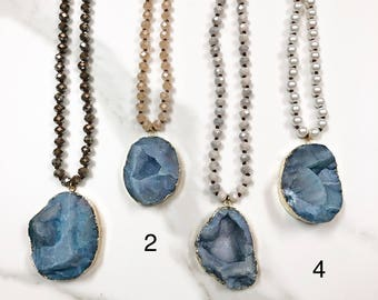 Large blue druzy necklace