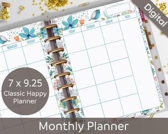 Happy Planner Printable Pages, Monthly Planner, Undated Monthly Printable, Classic Happy Planner Printable Insert, Refills, Arinne Blue Bird
