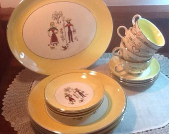 Vintage, Amish, Farmer, Provincial, Homer Laughlin, Rhythm, dishes, 17 pieces, platter, cups, midcentury, yellow border, Cottage, country