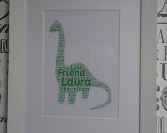 Framed  Diplodocus dinosaur collage, word art, freestanding or wall mounted, birthday gift, personalised home decor, wall art, typographic