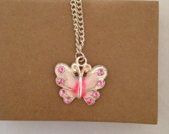 Pink Butterfly Pendant, Silver Plated Chain, Handmade Fashion Jewellery, Pretty Delicate Chains, Jewelry For Her, Birthday Gift For Female