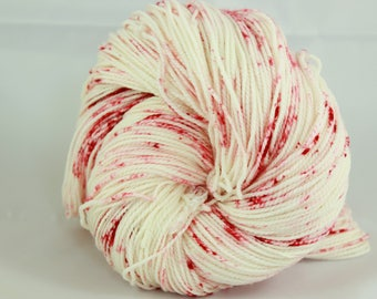 Hand dyed yarn, Red yarn, speckled yarn, Christmas yarn, variegated yarn, worsted fingering bulky weight yarn, superwash wool 100g