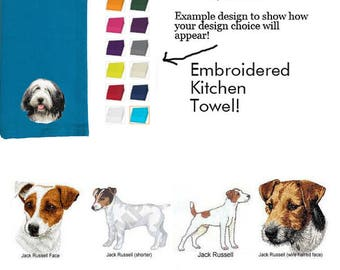 Jack Russell Terrier Personalized Embroidered Kitchen Towel
