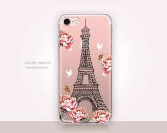 Paris Clear Phone Case - Clear Case - For iPhone 8, 8 Plus, X, iPhone 7 Plus, 7, SE, 5, 6S Plus, 6S,6 Plus, Samsung S8,S8 Plus,Transparent