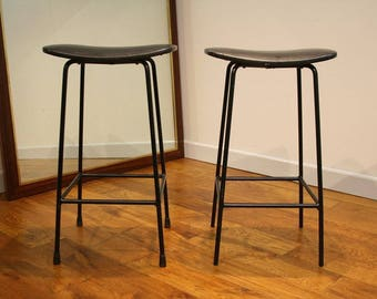 Pair late 50s Frank Guille kitchen stools Kandya.