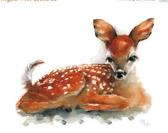 SALE Deer Fawn watercolor painting - Art Print. Nature or Animal Illustration. Rust and Orange.
