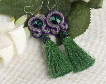 Green purple statement soutache earrings. Long dangle Czech crystal earrings, green tassel earrings, elegant everyday boho earrings,
