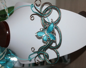 chocolate turquoise Butterfly Necklace