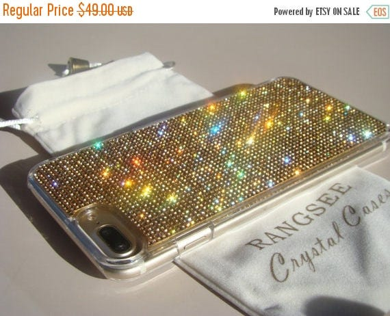 Sale iPhone 7 Plus Case Gold Topaz Rhinestone Crystals on Transparent Clear Case. Velvet Pouch Included, Genuine Rangsee Crystal Cases