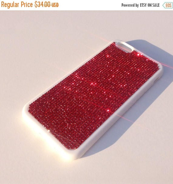 """Sale iPhone 6 / 6s 4.7"""" Siam Red Rhinestone Crystals on White Rubber Case. Velvet/Silk Pouch Bag Included, Genuine Rangsee Crystal Cases"""