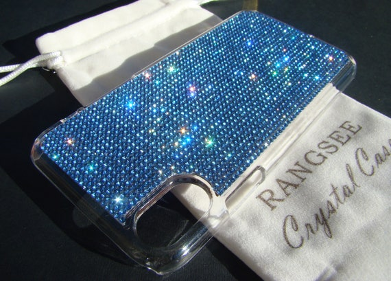 iPhone X Case Blue Sapphire Crystals on Transparent Clear iPhone X Case. Velvet Pouch Included,