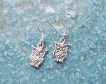 Owl earrings, owl jewelry