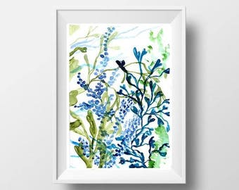 Seaweed bunch watercolor painting sea life beach house decor sea oceanic coral print abstract wall art picture nuetral color decoration