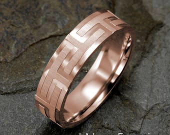 Gold Ring, Mens Wedding Band, Rose Gold Band, Greek Band, Solid Gold, 14k gold Band, Mens Wedding Ring, Anniversary Band, Rose Gold Ring