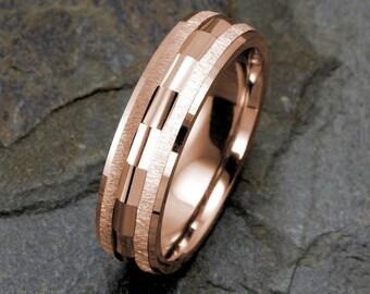 Mens Wedding Band 14K Rose Gold Wedding Ring 6mm Brushed Ring, Mens Ring, Solid Rose Gold Band, Mens Band, Custom Engraved, Personalized