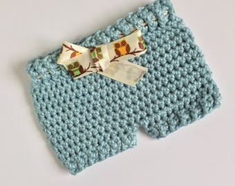 Teal Baby Shorts, Ready to Ship, Crochet Shorts, Photo Prop