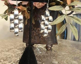 Sterling silver basket weave dangling earrings