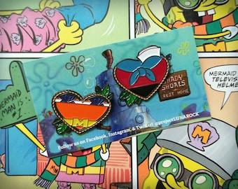 Mermaid Man & Barnacle Boy Heart Shaped Enamel Pins Set