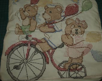 Three Bears on a Bike Completed Cross Stitch