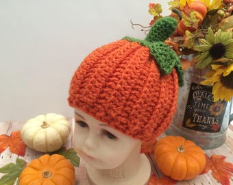 Crochet Baby Pumpkin Hat, Baby Pumpkin Hat, Baby Fall Hat, Baby Halloween Hat, Baby Winter Hat, Infant Hat, Toddler Hat