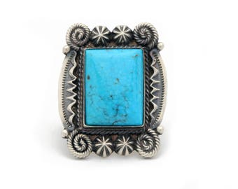 Size 8 Large OLD STYLE Navajo Turquoise Ring Square Stone