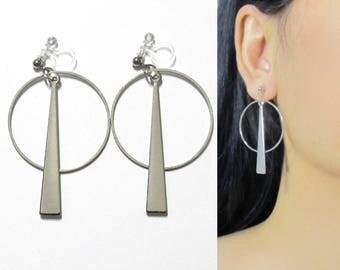 Geometric Clip On Hoop Earrings  38C  Long Dangle Silver Circle Drop Bar Modern Clip earrings, Invisible Clip-ons Non Pierced earrings