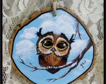 Hand Painted Wood Slice with a Cute Little Owl