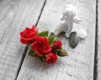 Wedding Flower Hair Clip–Bridal Hair Flower–Red Rose Hair Flower–Red Rose Hair Clip–Floral Hair Clip–Flower Hair Accessories– Red Bridal