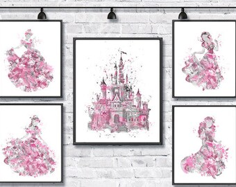 Disney Princess Watercolor Print Disney Poster Movie Art Cinderella Snow White Ariel Belle Painting Nursery Girls Room Pink Gray Gift