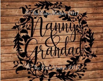 Nanny and Grandad template for paper cutting - Personal And Commercial Use PDF