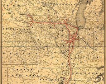 40% OFF SALE Poster, Many Sizes Available; 1892 Map Of The Illinois Central Railroad