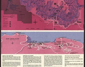 20% Off Sale - Poster, Many Sizes Available; Map Of South Rim Grand Canyon Arizona 1975