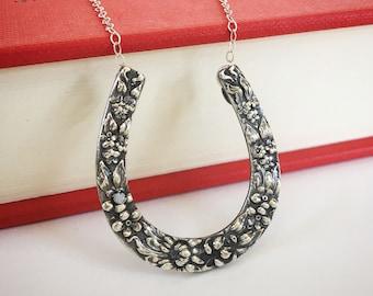 Repurposed Vintage Repoussé Flower Horseshoe Brooch Necklace